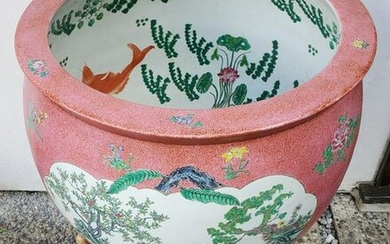 30s Extra Large Hand Painted Fish Bowl With Origianl