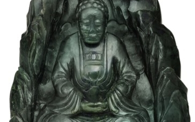 A SPINACH-GREEN JADE 'BUDDHA IN A GROTTO' GROUP LATE QING DYNASTY   晚清 碧玉坐佛山子