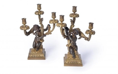 A pair of fine gilt and patinated bronze three light figural candelabra in late Louis XV taste, by Henri Vian (French, 1860-1905), late 19th century