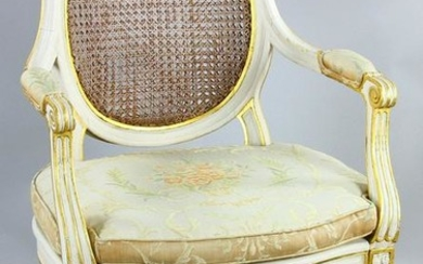 French Style Armchair, Gold and Ivory