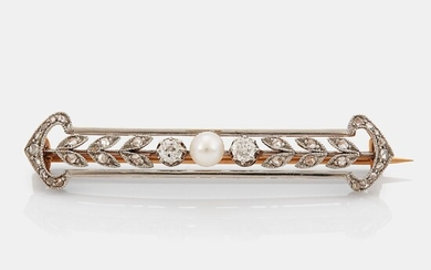 A 14K gold and platinum brooch set with a pearl and old- and rose-cut diamonds