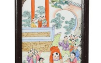 A 20th century Chinese porcelain plaque, decorated in enamel colours with playing children and poem. Visible size 74×21 cm.