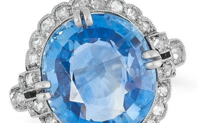 A 9.63 CARATS SAPPHIRE AND DIAMOND CLUSTER RING set