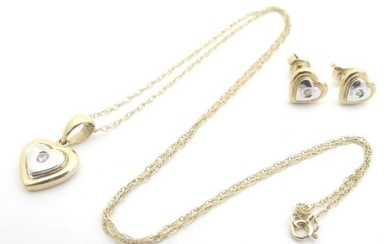 A 9ct gold pendent and chain, the two colour gold