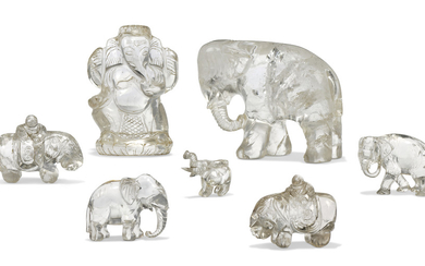 A COLLECTION OF SIX ROCK CRYSTAL ELEPHANTS, 19TH/20TH CENTURY