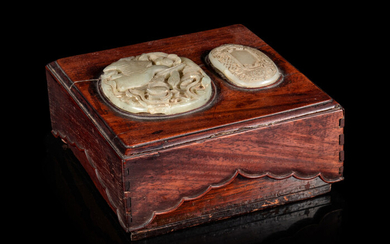 A Celadon Jade Inset Huanghuali Wood Cover Box