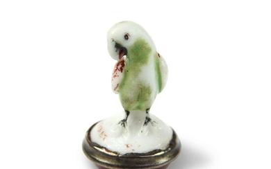 A Chelsea Porcelain Seal Formed as a Parrot
