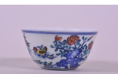 A Chinese doucai porcelain tea bowl with chicken decoration,...
