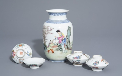 A Chinese famille rose eggshell vase and six...