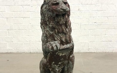 A Continental zinc model of a seated lion