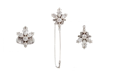 A DIAMOND CLUSTER PIECE, with round and marquise cut diamond...