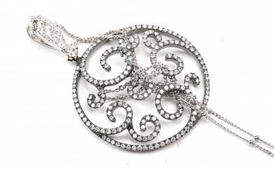 A DIAMOND PENDANT-Of open scroll work design, set with round brilliant cut diamonds totalling 1.10cts, in black rhodium plated 18ct...