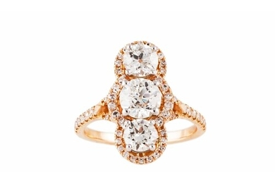 A DIAMOND THREE STONE RING, the three old cut diamonds to a ...