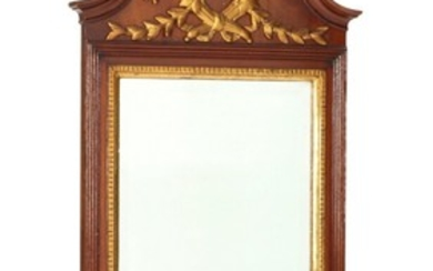 A Danish circa 1780 partly gilded mahogany Louis XVI mirror, carved with vase, bows and foliage. H. 153. W. 61 cm.