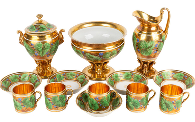 A FRENCH GILT PORCELAIN FIVE-PERSON SERVICE, PRIVATE FACTORY, 19TH CENTURY