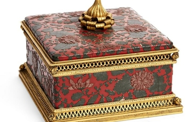 A French bronze & Japanese lacquer box