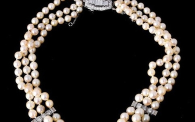 A French cultured pearl and diamond necklace