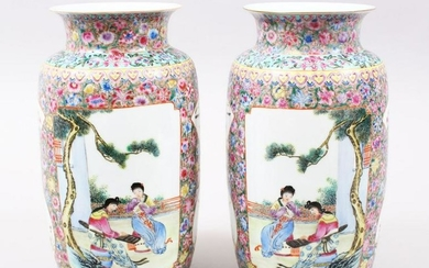 A GOOD PAIR OF 19TH / 20TH CENTURY CHINESE FAMILLE ROSE