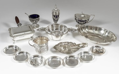 A George V Silver Circular Two-Handled Porringer, and mixed...