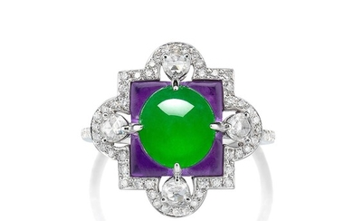 A Jadeite Cabochon, Amethyst and Diamond Ring