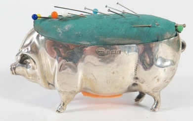 A Large Edward VII Silver Pin Cushion in the form of a pig, ...