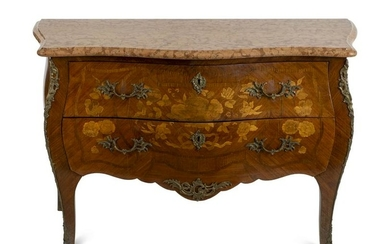 A Louis XV Style Gilt Bronze Mounted Marquetry Commode