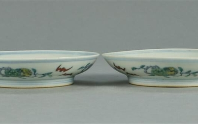 A PAIR OF CHINESE DOUCAI PORCELAIN FLOWER DISH