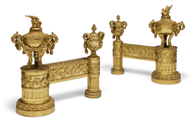 A PAIR OF FRENCH ORMOLU CHENETS, LATE 19TH CENTURY