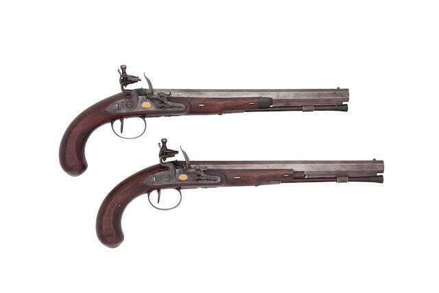 A Pair Of 28-Bore Flintlock Duelling Pistols, By Robert Wogdon Of London, Circa 1785-90