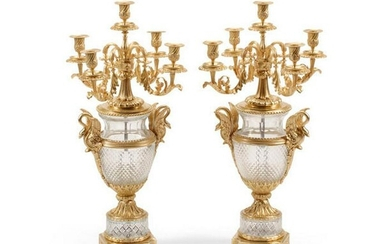 A Pair Of Louis Xvi Style Gilt Bronze Mounted Cut Glass