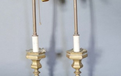 A Pair of 18th Century Style Brass Table Lamps of shaped oct...