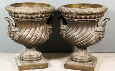 A Pair of Imposing Green/Brown Patinated Bronze Two-Handled Urns...