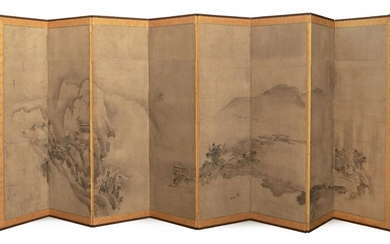 A Pair of Japanese Eight-Panel Screens, After Sesson Shukei, 17th...