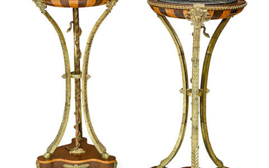 A Pair of Louis XVI Style Marble Top Gilt Bronze and Metal Mounted Fruitwood and Exotic Wood Gueridons