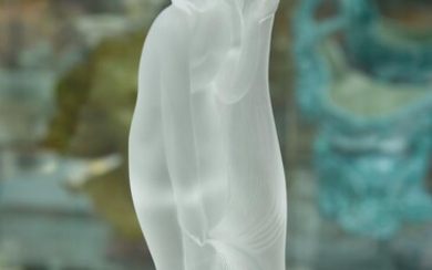 A SIGNED SEVRES GLASS NUDE MAIDEN FIGURE, H.22.5CM, LEONARD JOEL LOCAL DELIVERY SIZE: SMALL