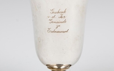 A SILVER KIDDUSH CUP. Germany, c. 1860. On round base.