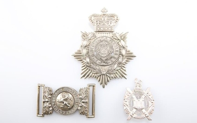 A SILVER-PLATED WAIST BELT CLASP OF THE LONDON SCOTTISH