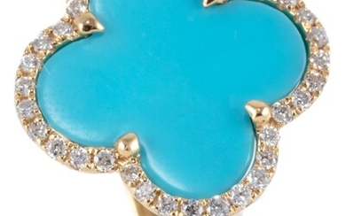 A TURQUOISE AND DIAMOND LUCKY CLOVER RING; 18ct gold Alhambra style quatrefoil ring with reconstituted turquoise plaque to surround...