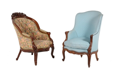 A Victorian mahogany and blue upholstered armchair