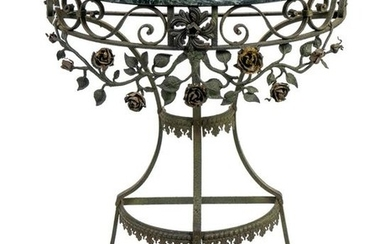 A Wrought Iron Marble Top Demilune Console Table Height