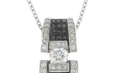 A brilliant-cut diamond and black gem pendant, with chain.