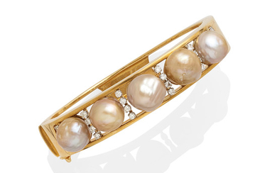 A cultured pearl and diamond hinged bangle