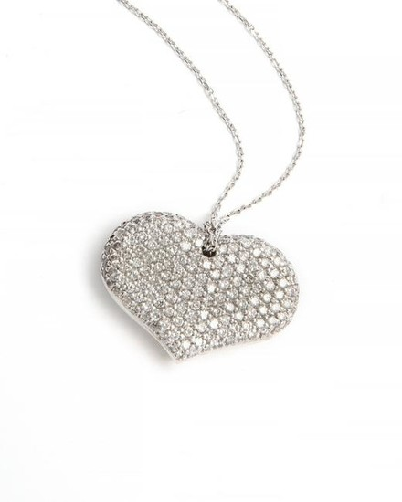 A diamond and white gold heart pendant necklace