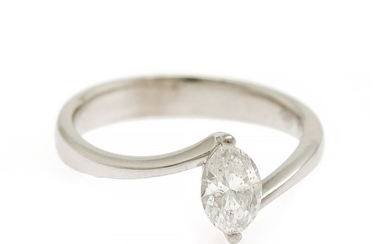 A diamond ring set with a marquis-cut diamond weighing app. 0.60 ct., mounted in 14k white gold. Size 53.