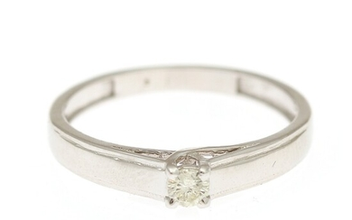 A diamond solitaire ring set with a brilliant-cut diamond, app. 0.10 ct., mounted in 14k white gold. Size 52.