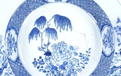 A large Chinese blue and white porcelain bowl, hand painted ...