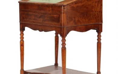 A mid 19th century mahogany polished birch Late Empire writing desk. H. 124. W. 80. D. 64 cm.