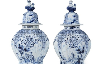 A pair of large Dutch Delft lidded jars 18th...
