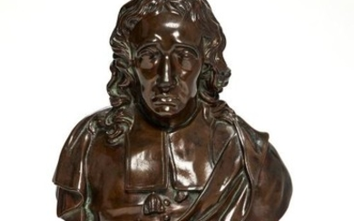 A patinated bronze bust of John Milton after John Cheere (1709-1787), cast by Ferdinand Barbedienne, late 19th century