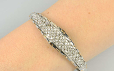 A pave-set diamond hinged bangle, with threaded motif border, by Damiani.
